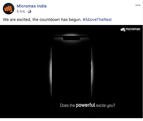 Micromax's first notched smartphone is coming on December 18